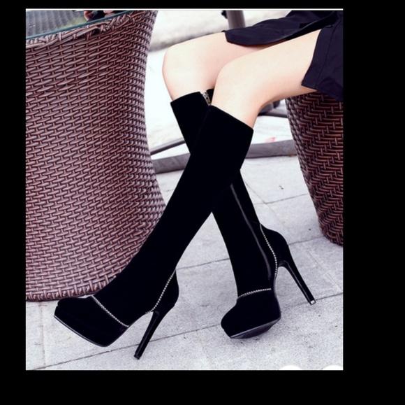 Shoes - Black knee high boots velvet